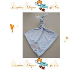 Doudou Lapin bleu EARLY DAYS grand mouchoir