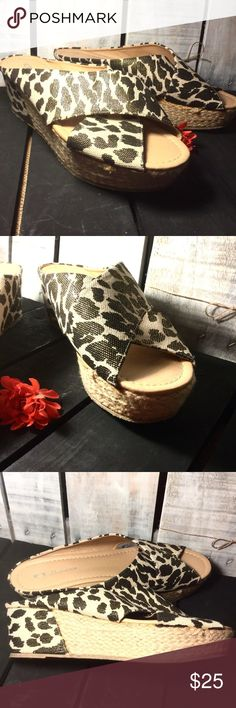 CL LAUNDRY Annalise Leopard Print Wedge Sandals CL by LAUNDRY ~ Annalise Style  NEW without box ~ EXCELLENT condition!  SIZE: 11  COLOR: Tan, black, bronze, gold  Item #: 6570 CL by Laundry Shoes Sandals