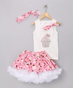 Take a look at this White & Pink Cupcake Tutu Set - Toddler & Girls by Yuli n' Grace Couture on #zulily today!