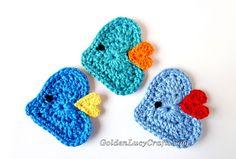 Crochet Heart Fish Applique Free Pattern