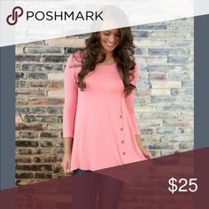 LADIES CASUAL TOP! Simple yet classic details add charm to this ladies long sleeve, button design and round neck pretty top.  BRAND NEW AND NEVER WORN!  (547-07540002) Tops Tunics