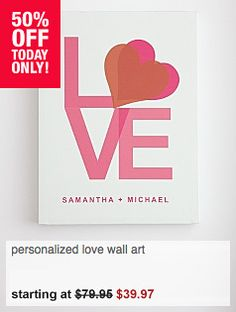 Top Quality Unique Personalized Gifts at Red Envelope via http://www.AmericasMall.com/redenvelope-gifts Personalized Love Wall Art Wedding gift from RedEnvelope #redenvelope #gifts #personalizedgifts