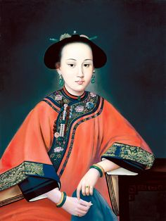 "Lady Khoja Iparhan 1734-88, ""The Fragrant Consort (Xiang Fei)"" of the Qing Dynasty Qianlong Emperor, dressed in Manchu Clothes. painted by Jesuit Missionary Painter at the Chinese Imperial Court, Giuseppe Castiglione. @ The Palace Museum Archives"