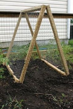 A DIY Portable Trellis For Your Garden-I have some leftover chicken wire. I think I will use it like this.
