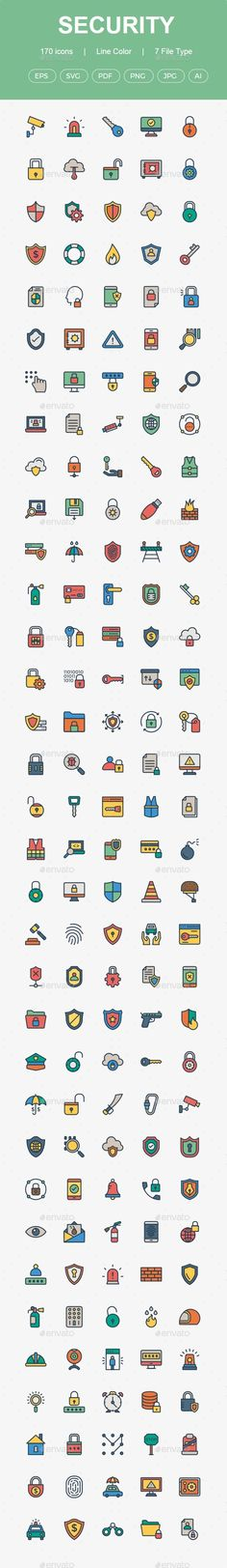 150+ Security line color icons