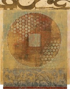 "Muted Memory, by Anne Moore, monotype with collage, 12.5""X 10"""
