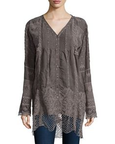 V-Neck Long Tunic W/ Crochet Hem  by Johnny Was Collection at Neiman Marcus.