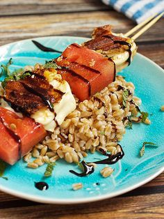 Watermelon and halloumi cheese charred to sweet, melty perfection