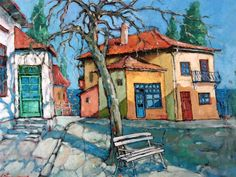 Balchik Yellow House Painting by David Croitor House Painting, Painting & Drawing, Yellow Houses, Unique Paintings, Arte Popular, Naive Art, Painting Inspiration, Great Artists, Home Art