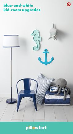 Make sure your kiddo's bedroom is ready to set sail in style by adding a few Pillowfort decor essentials from the Ocean Oasis collection. Blue-and-white bedding and lamps are classic enough to grow with them, while octopus and shark pillows add a little wild whimsy. This trio of sea-inspired wall art—a seahorse marquee light, anchor and super-cool shark head wall mount—is a quick take on the gallery wall, and also adds color.