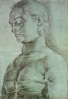 Estudio para la figura de Santa Apolonia, 1521 carbón y tiza sobre papel, 41 x 29 cm Berlín, Gabinete de Grabados