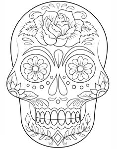 Sugar Skull with Flowers Coloring page from Day of the Dead category. Select from 20883 printable crafts of cartoons, nature, animals, Bible and many more. Sugar Skull with Flowers Coloring page from Day of the Dead category. Skull Coloring Pages, Halloween Coloring Pages, Flower Coloring Pages, Mandala Coloring, Coloring Books, Coloring Sheets, Free Printable Coloring Pages, Free Coloring Pages, Simple Coloring Pages