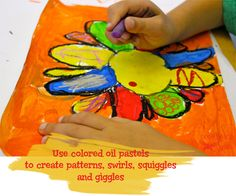 Deep Space Sparkle – Color, Line and Pattern Art Project. Draw. Paint. Add oil pastel marks.
