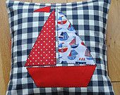 Nautical Shabby Chic Style Applique Boat Cushion Cover Children/Boy's/Home