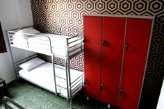Backpackers hostel with secure lockers inside rooms.