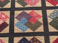 Card Trick Quilt with modern quilting.  The quilt is very straight--it's an illusion caused by the quilting design that makes it look wavy