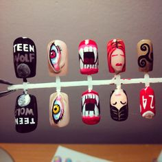 Teen Wolf press on nail set at https://www.etsy.com/listing/178295142/mtv-teen-wolf-false-nail-set #nails #teenwolf