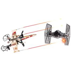 "A button on each remote fires an infrared ""laser"" from the front of each spacecraft in an attempt to wing an opponent, accompanied by movie-authentic X-Wing and Tie Fighter laser cannon pulse sounds. A direct hit ""wobbles"" an opponent in mid-air and causes its remote's display to flash—three hits shoots down the opponent, which causes it to land gently."