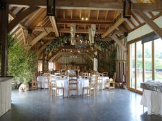 With its vaulted ceilings, wooden beams and huge windows, there are so many possibilities when it coms to decorating our Threshing Barn #weddings #weddingstyle #southendbarns #sussex #weddingbarn