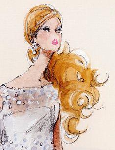 (¯`'•.ೋ…  Barbie Illustration  ............by Robert Best.from Barbie Calendar