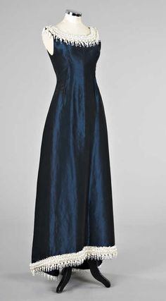 Balenciaga petrol blue silk ball grown, circa 1958-60