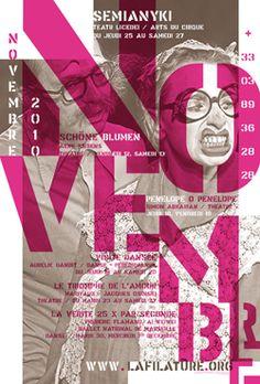 Design Envy · Posters for La Filature (2010–2011 season): Vincent Perrottet and Anette Lenz