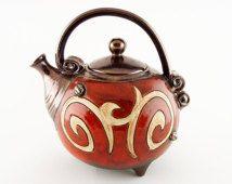 Red ceramic teapot, pottery teapots, ceramics and pottery, tea pot, handmade ceramic art tea set Christmas Gift Birthday , metallic teapot