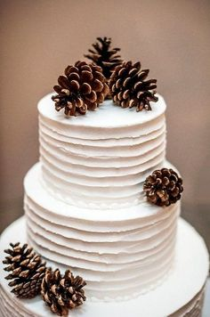 Such a simple chic winter wedding cake ! Beautiful Wedding Cakes, Beautiful Cakes, Dream Wedding, Purple Wedding, Gold Wedding, Floral Wedding, Winter Torte, Winter Cakes, Winter Wedding Decorations