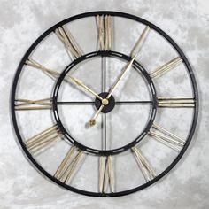 Large Black & Gold Skeleton Iron Wall Clock