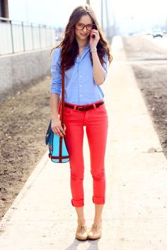 Colored jeans + chambray