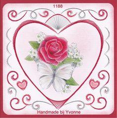 YBB 1188 Hart met roos en vlinder