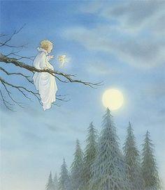 Illustration by Asako Eguchi Fairy Land, Fairy Tales, Desenhos Tim Burton, Tres Belle Photo, Anne Geddes, Vintage Fairies, Moon Art, Moon Child, Faeries