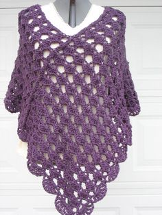 Plus Size Ladies Crochet Poncho - Shell Stitch- in Plum