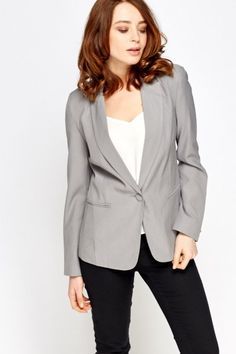 Button Front Fitted Blazer - GREY - £5 - on Everything5pounds.com