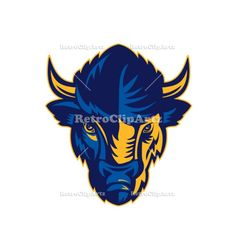 American Bison Head Retro Vector Stock Illustration.   Retro style illustration of head of an American Bison, American buffalo or simply buffalo,viewed from front on isolated background. #illustration #AmericanBisonHead