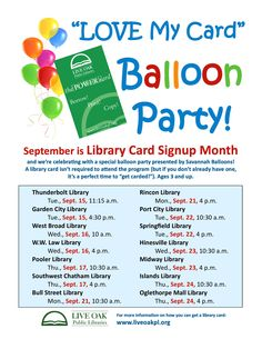 Free Balloon Party for ages 3+ in #Savannah Details: http://www.southernmamas.com/2015/free-library-kids-eventsprograms-including-robots-stem-programs-savannah/