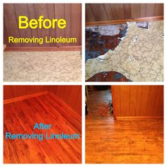 Remove linoleum from hardwoods without sanding, or damaging the surface of the hardwood. 1. Remove the linoleum covering completely from the floor. Cut sections and pull the flooring off. If  the linoleum has been glued down to the floor the backing may remain attached to the surface of floor. If this happens mix Murphy's Oil Soap and water in a spray bottle, saturate with oil soap mixture. Let it set 30 min to an hour. Use putty knife, and gently scrape then clean remaining glue off floor…