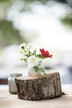 simple rustic centerpiece { Rustic Autumn Ranch Wedding / Stacy & Chris / Matthew Johnson Studios / Woodsy Weddings Blog }