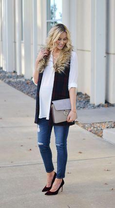 plaid vest, white tu