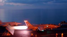 F-15 MILITARY JET TAKING OFF FROM AIR CRAFT CARRIER - AMAZING NIGHT LAUNCH