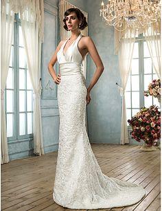 Sereia Decote V Cauda Escova Renda Cetim Vestido de casamento com Faixa / Fita Botão de LAN TING BRIDE®