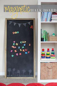DIY free standing magnetic chalk board... the kids love it! Easy tutorial on http://www.FreshMommyBlog.com