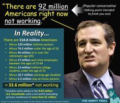 """There are 92 million Americans right now not working."" --Ted Cruz (Idiot) 