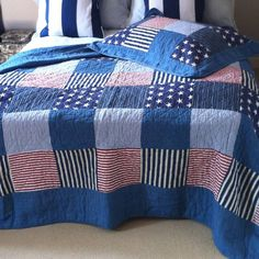 denim quilts | ... Bedding › Bedspreads › American Patchwork Quilt Stars And Stripes