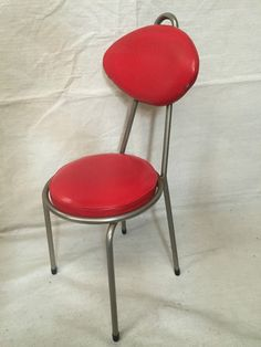VINTAGE 50'S RED Retro STUDY DINING LOUNGE OFFICE CHAIR METAL VINYL