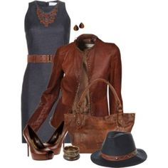 Dark grey and dark brown outfit