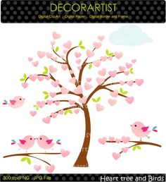 Tree clip art Heart tree and birds tree flowers by decorartist,
