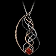 Soundwave pendant is resonant. A sumptuous carat spessartite garnet glows from this striking piece of AlbaGold™, white gold, and black gold. Witch Jewelry, Candy Jewelry, Geek Jewelry, Jewelry Art, Antique Jewelry, Jewelry Gifts, Jewelry Design, Vintage Jewellery, Jewelry Necklaces