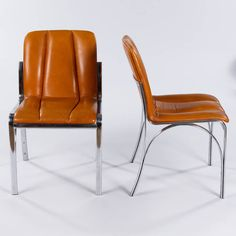 Set of Six Vintage Chrome and Leather Chairs | From a unique collection of antique and modern side chairs at https://www.1stdibs.com/furniture/seating/side-chairs/