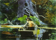 Winslow Homer (1836 – 1910) was was an American landscape painter and printmaker, best known for his marine subjects. He is considered one of the foremost painters in 19th century America and a pre-eminent figure in American art.    1894+The+Adirondack+Guide+watercolour.jpg (798×574)
